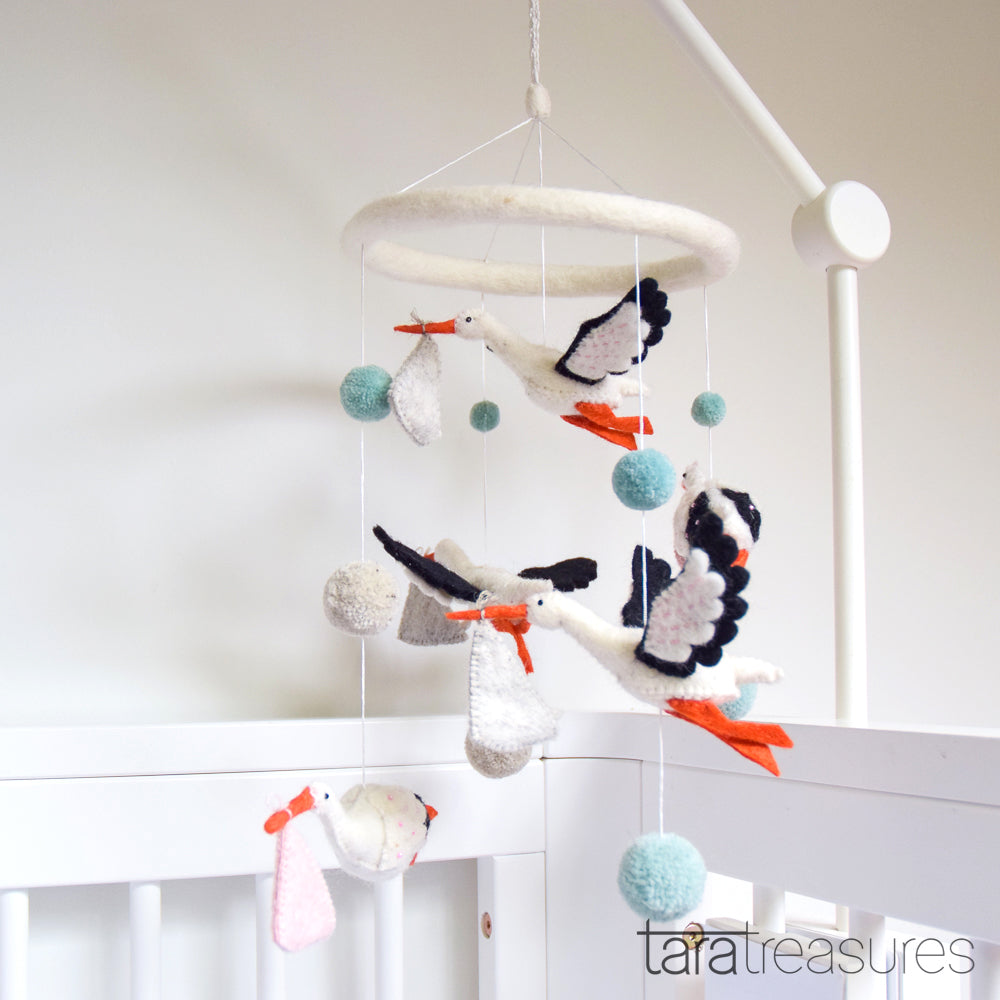 Nursery Cot Mobile - Stork - Tara Treasures