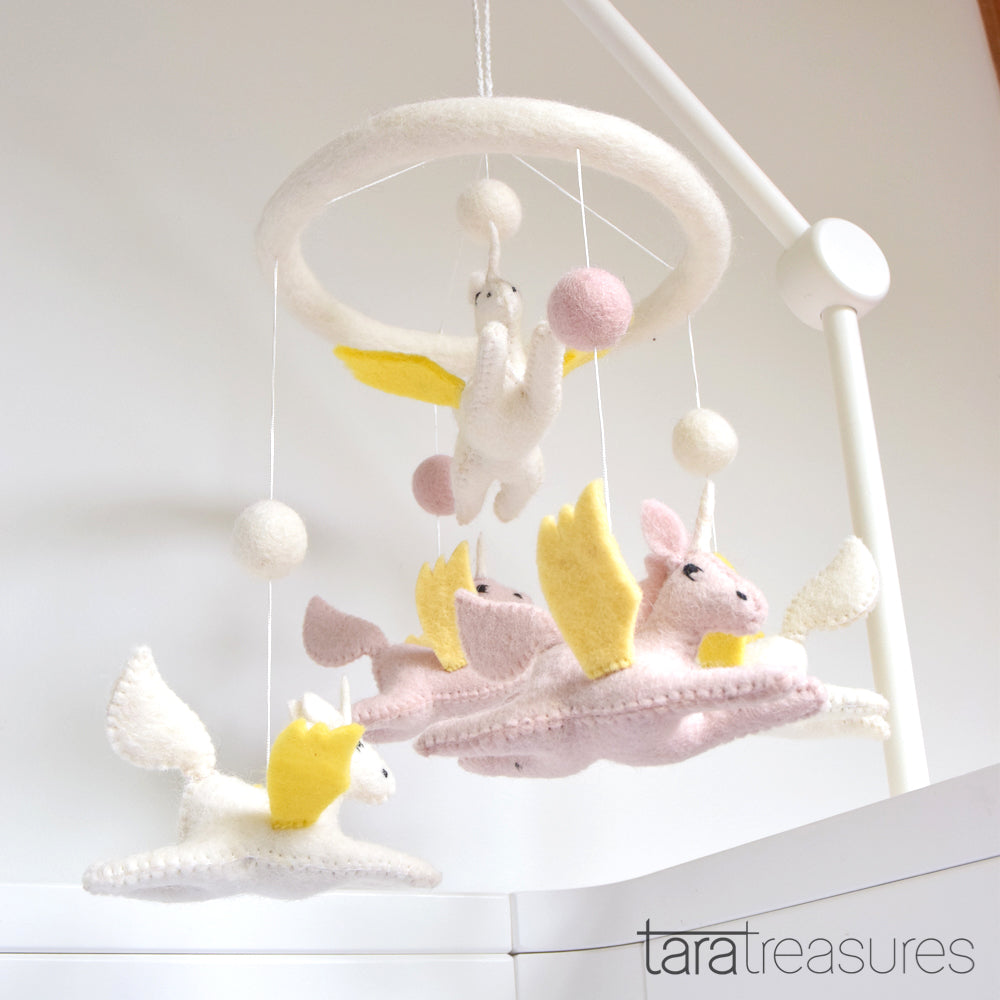 Nursery Cot Mobile - Flying Unicorns - Tara Treasures
