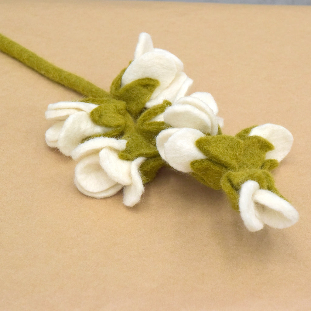 Felt White Blossoms - Tara Treasures