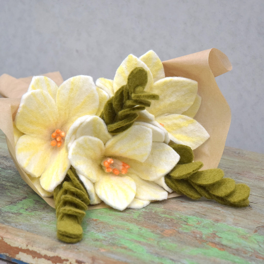 Felt Floral Bouquet - Wildflowers and Jade Leaves - Tara Treasures