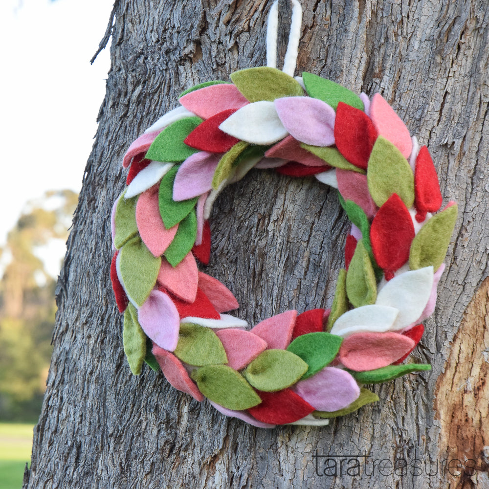 Felt Leaves Wreath - Spring - Tara Treasures