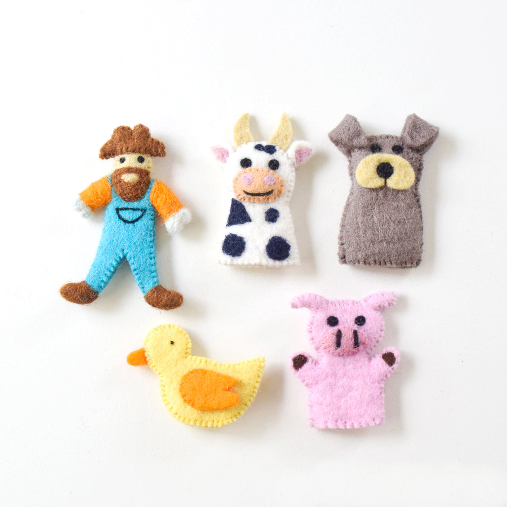 Old MacDonald Farm Animals A, Finger Puppet Set - Tara Treasures