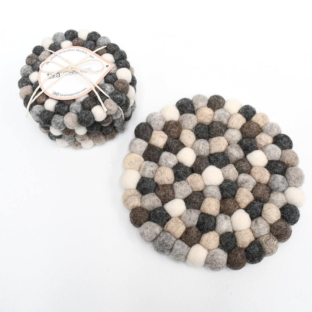 4 Coasters and a Trivet Set - Grey Stones - Tara Treasures