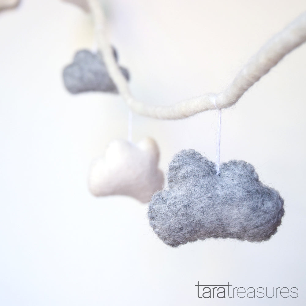 Grey and White Felt Cloud Garland