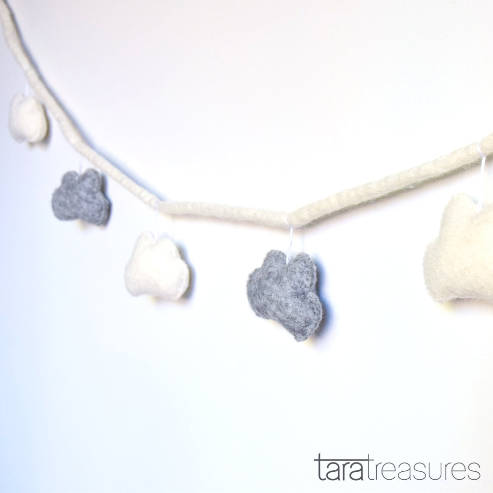 Cloud Garland - Grey and White - Tara Treasures