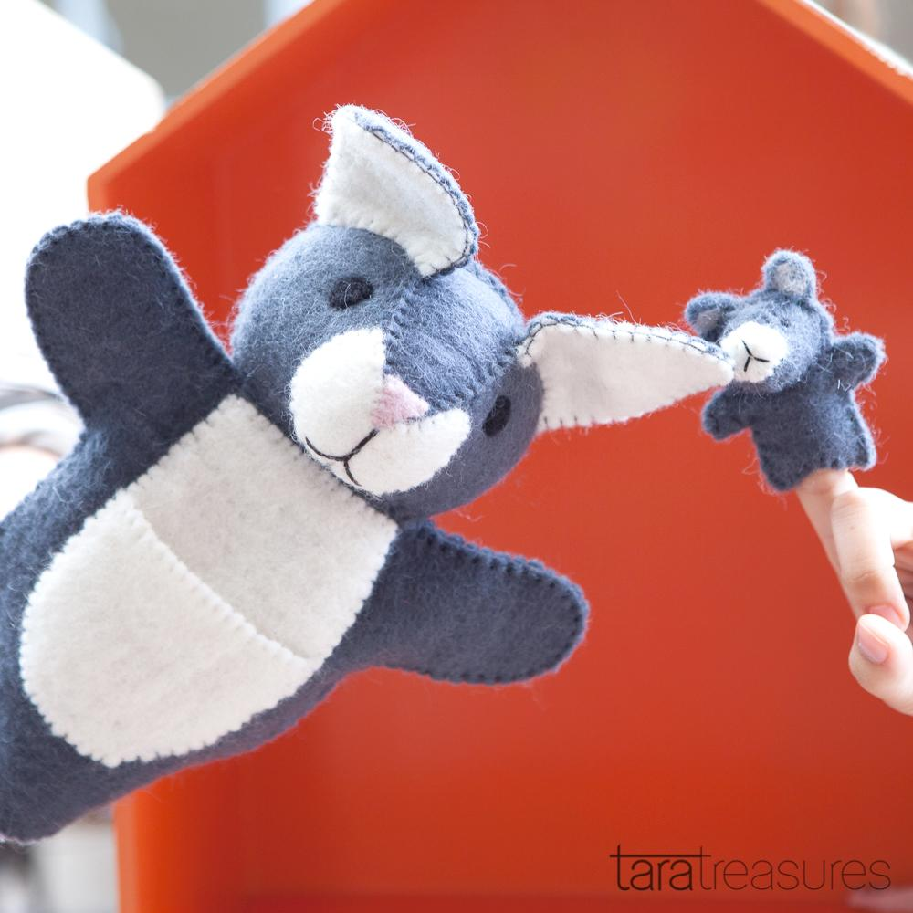 Hand Puppet - Grey Kangaroo with Joey - Tara Treasures