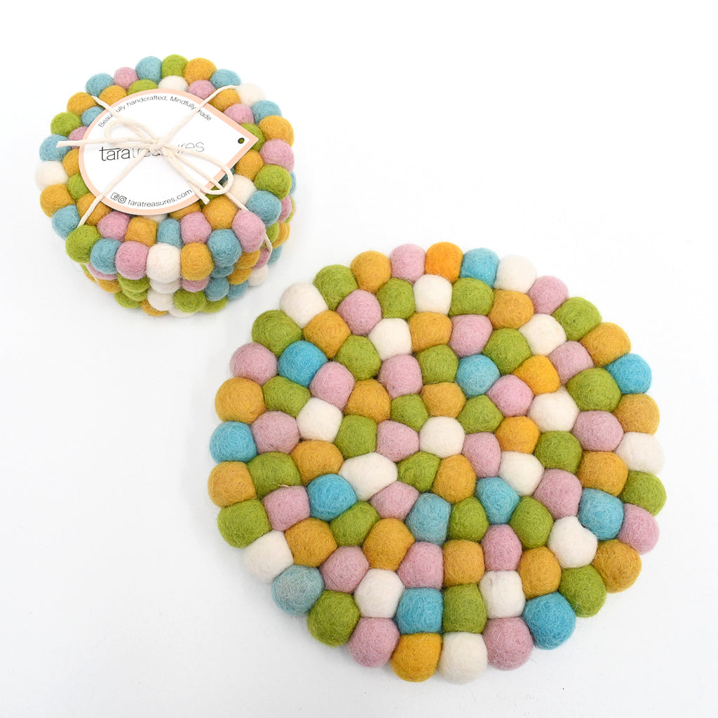 4 Coasters and a Trivet Set - Jellybean - Tara Treasures