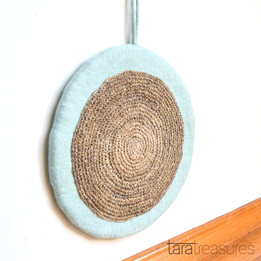 Felt and Jute Cat Scratcher - Mint Blue - Tara Treasures