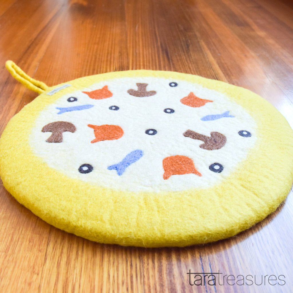Felt and Jute Cat Scratcher - Yellow Pizza - Tara Treasures