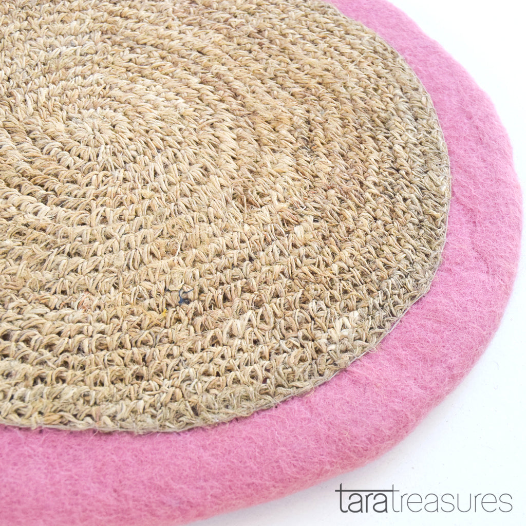 Felt and Jute Cat Scratcher - Charm Pink - Tara Treasures