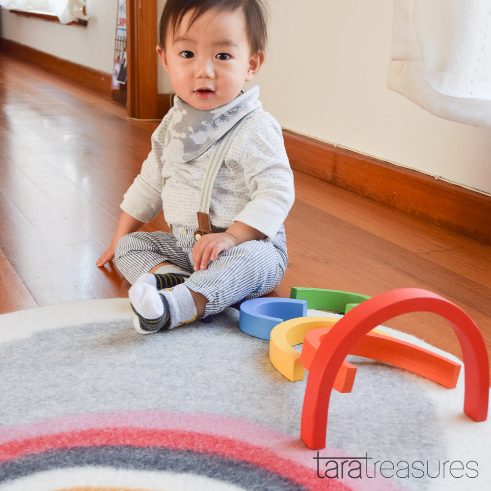 Felt Nursery Rug - Horizon Rainbow - Tara Treasures