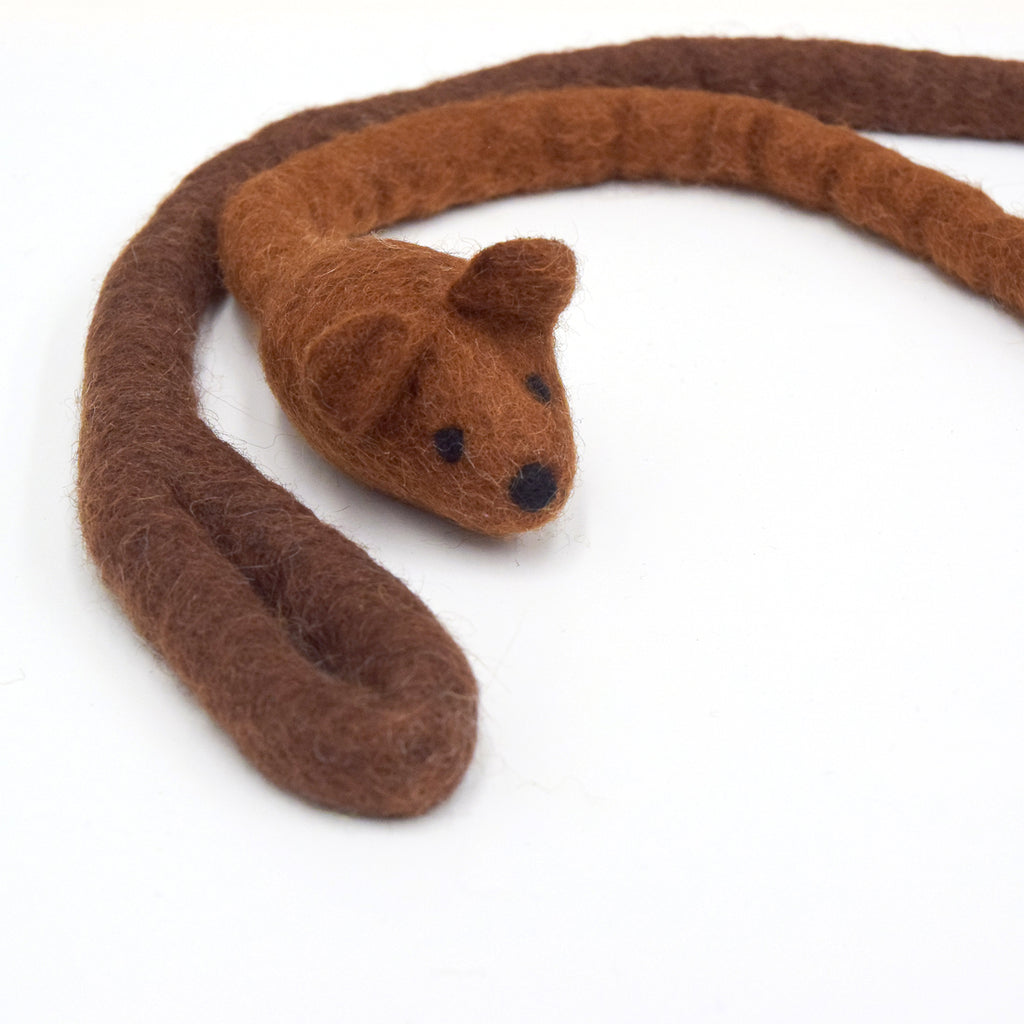 Felt Mouse Teaser Cat Toy - Brown - Tara Treasures