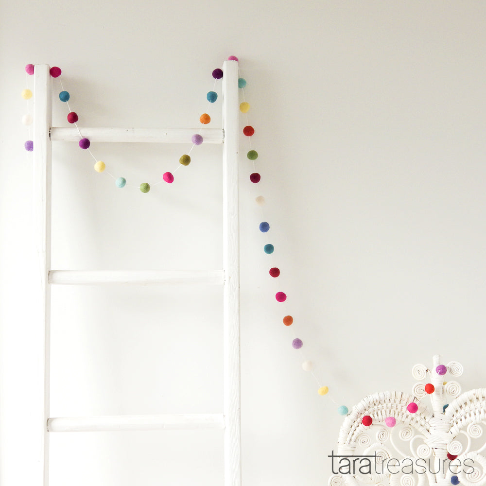 Pompom Ball Garland - Colourful - Tara Treasures