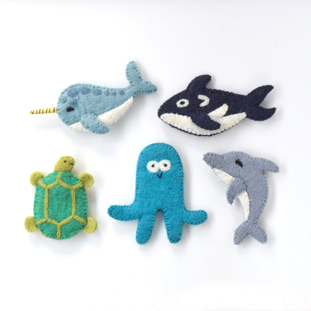 Ocean and Sea Creatures B, Finger Puppet Set - Tara Treasures