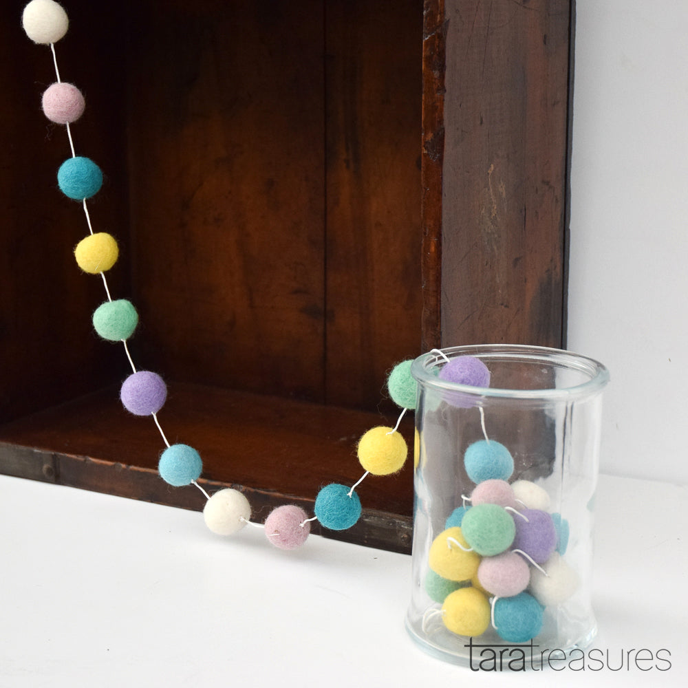 Pompom Ball Garland - Pastel - Tara Treasures