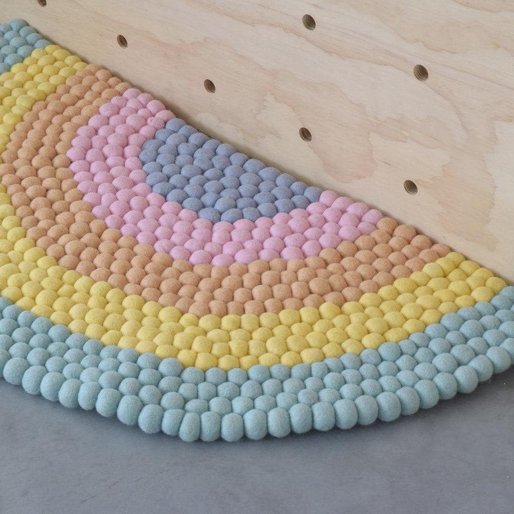 Rainbow Felt Ball Rug - Pastel - Tara Treasures