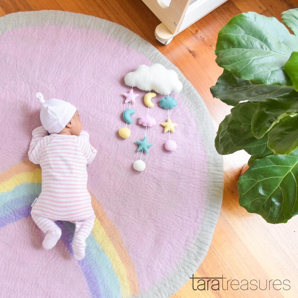 Felt Nursery Rug - Pastel Rainbow - Tara Treasures