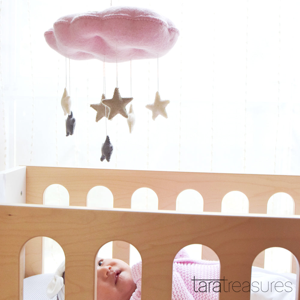 Cloud Nursery Mobile with Stars - 3D Pink - Tara Treasures