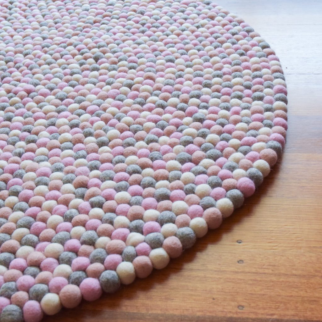 Felt Ball Rug - Grey and Pink 100cm - Tara Treasures