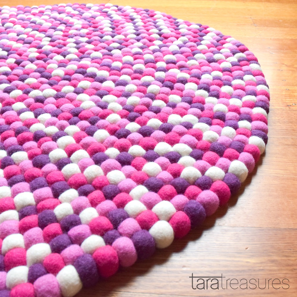 Felt Ball Rug - Purple and Pink 100cm - Tara Treasures