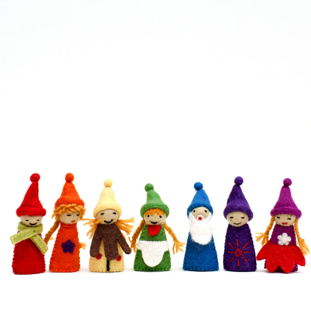 Rainbow Colourful Gnomes Finger Puppet Set - Tara Treasures