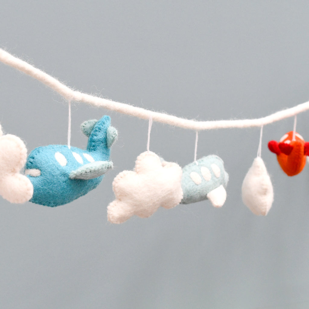 Airplane Garland - Red and Cyan - Tara Treasures