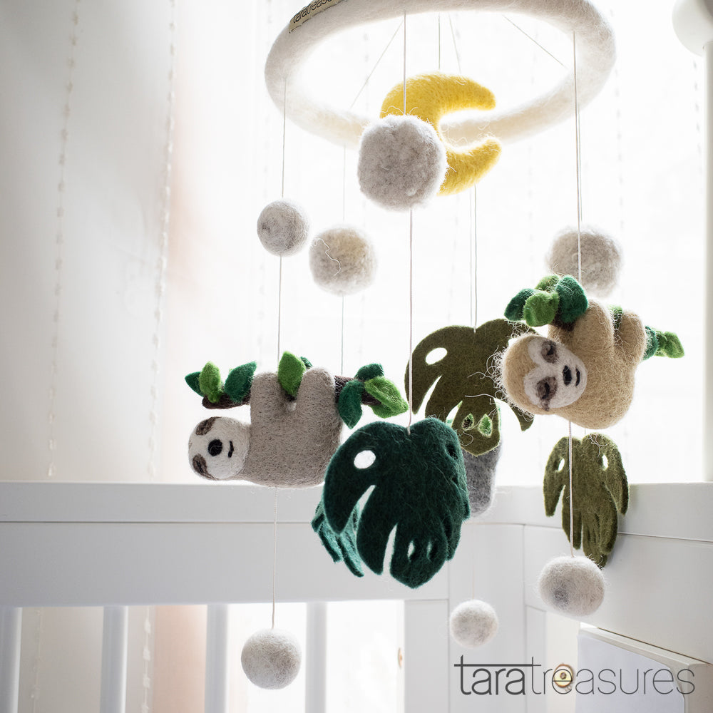 Nursery Cot Mobile - Sloth Away - Tara Treasures