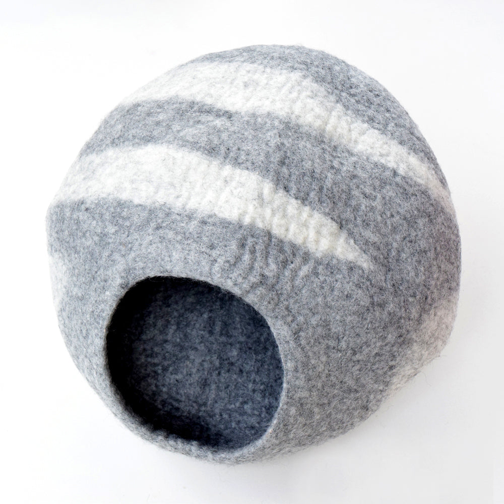Cat Cave - Light Grey Stone Cocoon - Tara Treasures