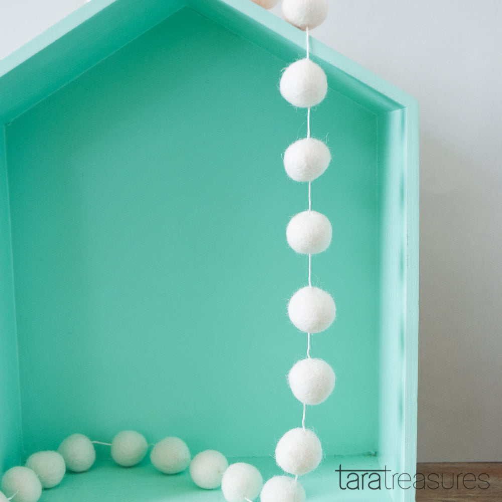 Pompom Ball Garland - White - Tara Treasures