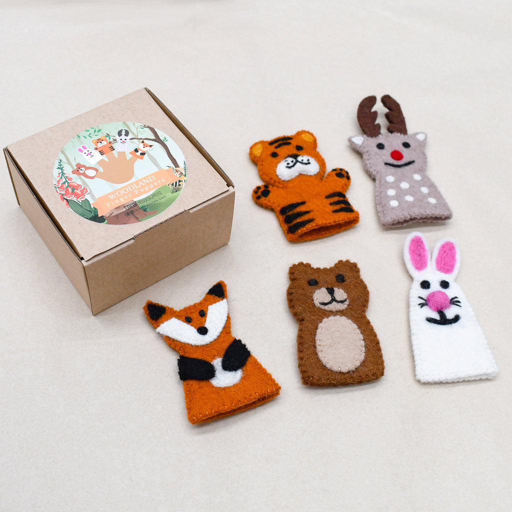 Woodland Animals, Finger Puppet Set - Tara Treasures
