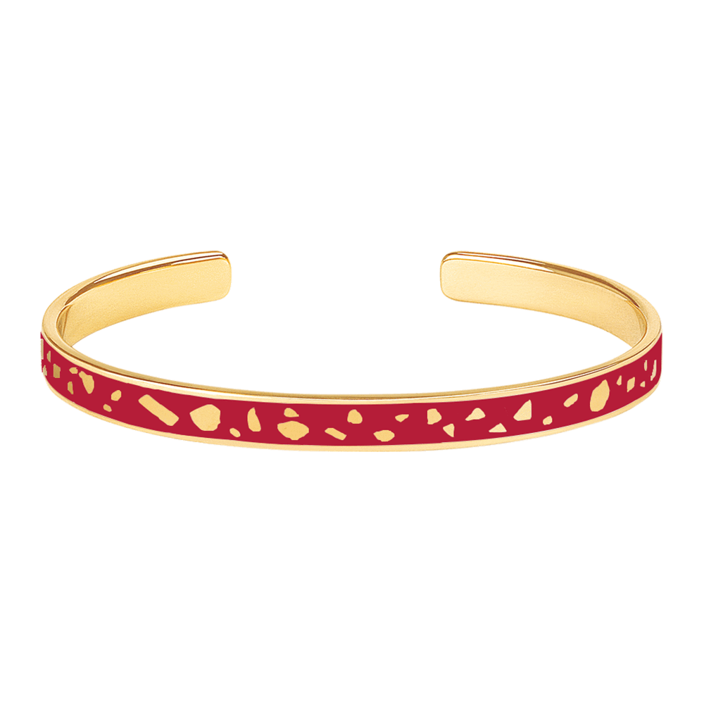 Jonc Lucy Rouge velours - bangle-up - Coeur Grenadine