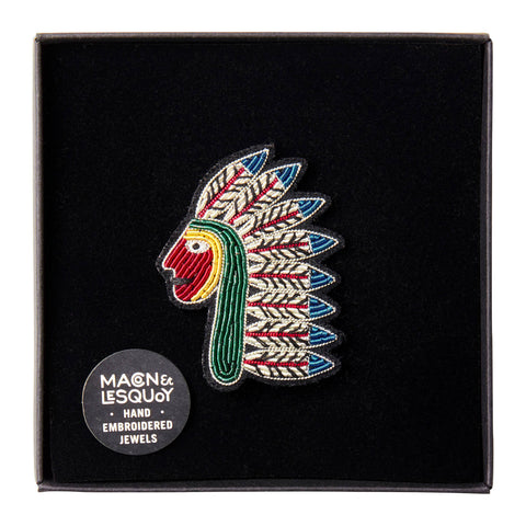 Broche Native American - Macon et Lesquoy - Coeur Grenadine