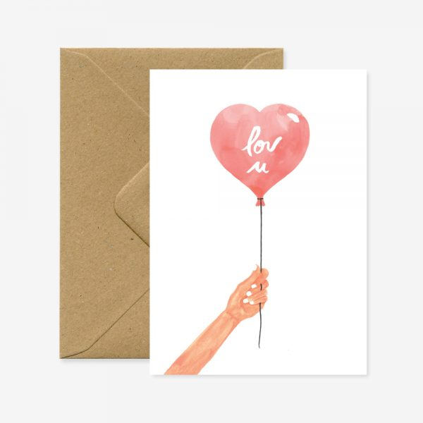 Carte Heart Balloon - All the ways to say - Coeur Grenadine