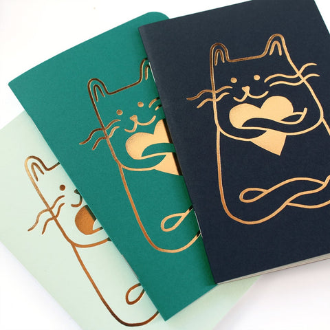 "Trio petits Carnets ""Cat in Love"" - Les Editions du paon - Coeur Grenadine"