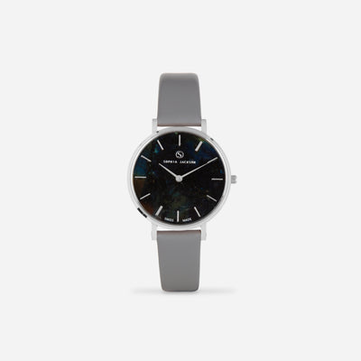 Grey Silver Strap - Genuine Leather or Vegan Leather 33mm