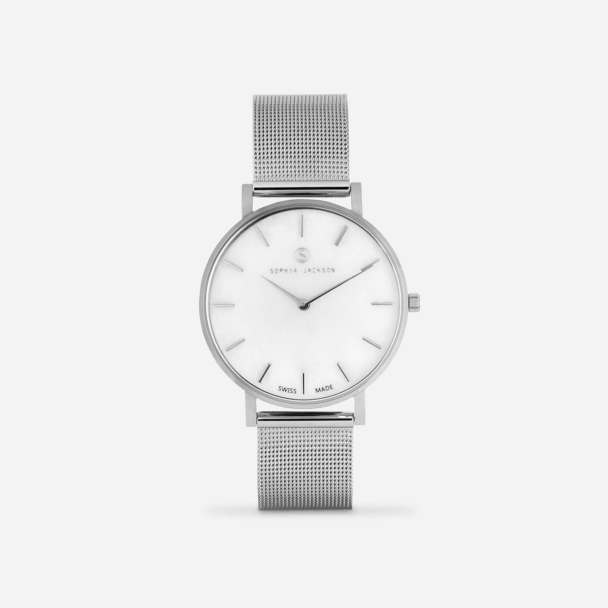 Silver White Agate Mesh - White Agate : Soothing: 38mm