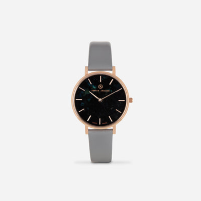 Grey Rose Gold Strap - Genuine Leather or Vegan Leather 33mm