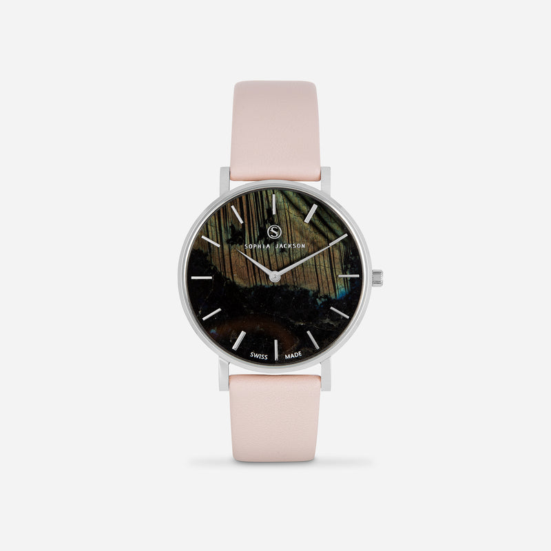 Soft Pink Silver Strap - Genuine Leather or Vegan Leather 38mm