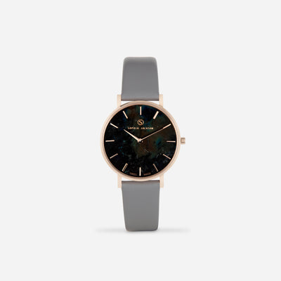 Grey Champagne Gold Strap - Genuine Leather or Vegan Leather 33mm