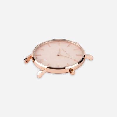 The Rose : Rose Gold Soft Pink Diamond 33mm - Pink Quartz : Love Featuring Solo Diamond to Dial