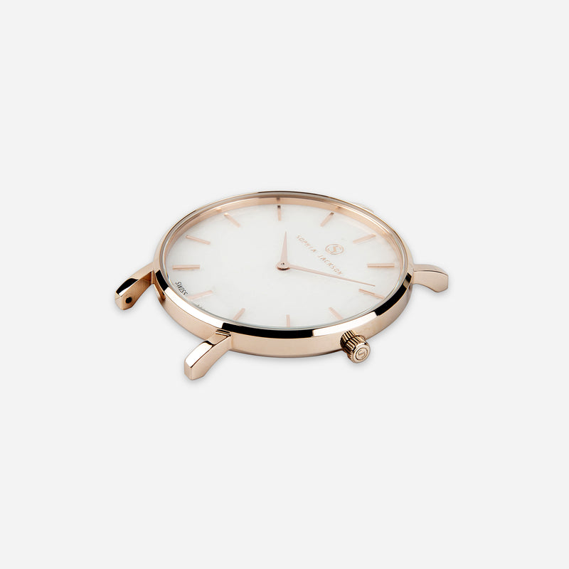 Liberty Mini White Agate Champagne Gold - White Agate : Soothing : 33mm