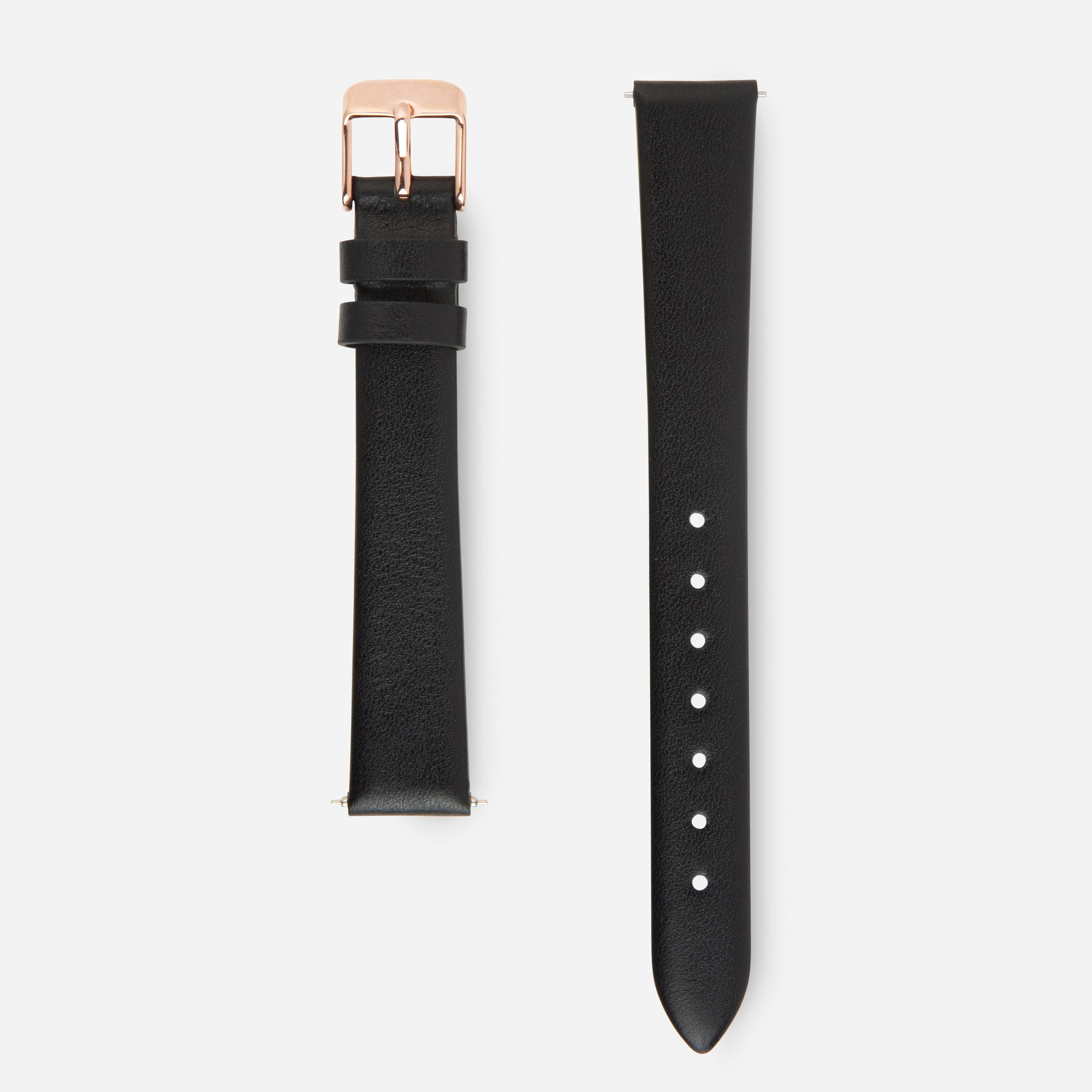 Black Rose Gold Strap - Genuine Leather or Vegan Leather 33mm