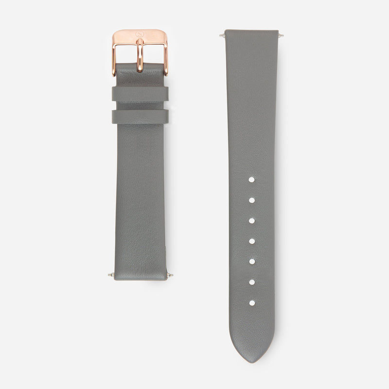 Grey Rose Gold Strap - Genuine Leather or Vegan Leather 38mm