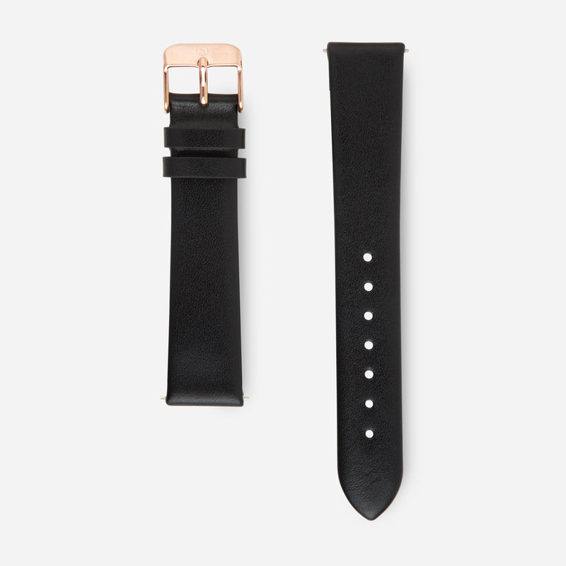 Black Rose Gold Strap - Genuine Leather or Vegan Leather 38mm