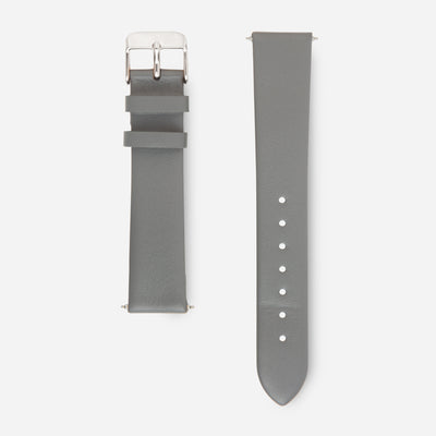 Grey Silver Strap - Genuine Leather or Vegan Leather 38mm