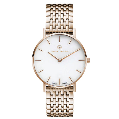 Liberty White Agate Champagne Gold - White Agate : Soothing : 38mm