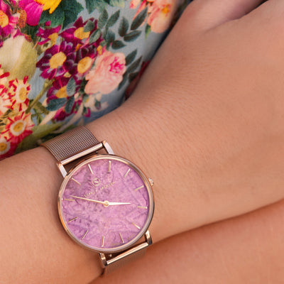 Champagne Gold Amethyst Mesh - Amethyst : Protecting  : 38mm