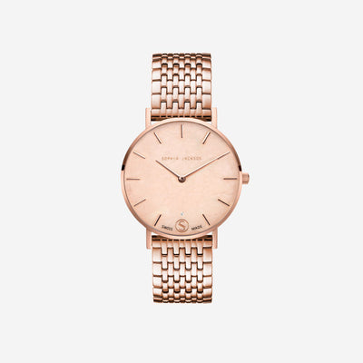 The Rose : Rose Gold Bracelet Diamond 38mm - Pink Quartz : Love Featuring Solo Diamond to Dial