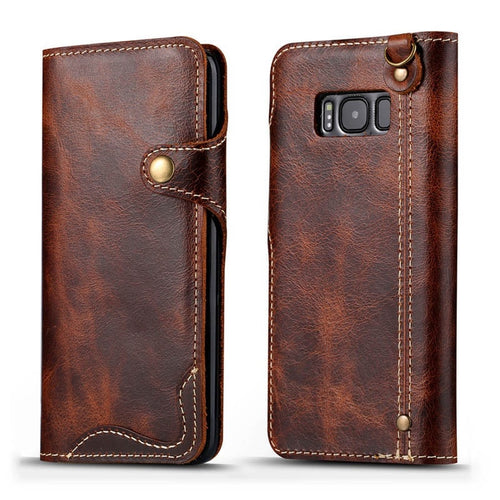 Luxury Business Style Real Leather Case for Samsung Galaxy Phones