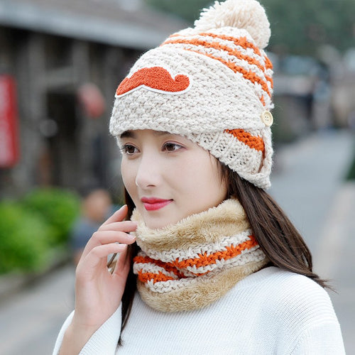 Women Winter Striped Knitted Face Mask Beanie
